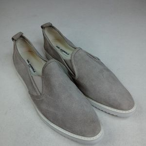 KARL LAGERFELD PARIS Gray suede Leather Loafer Fla